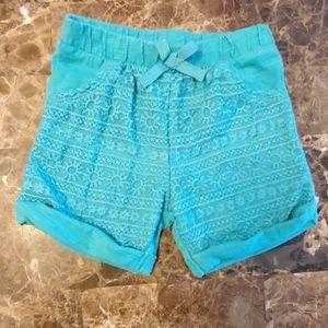 Carter's Infant Girl's Turquoise Lace Shorts EUC